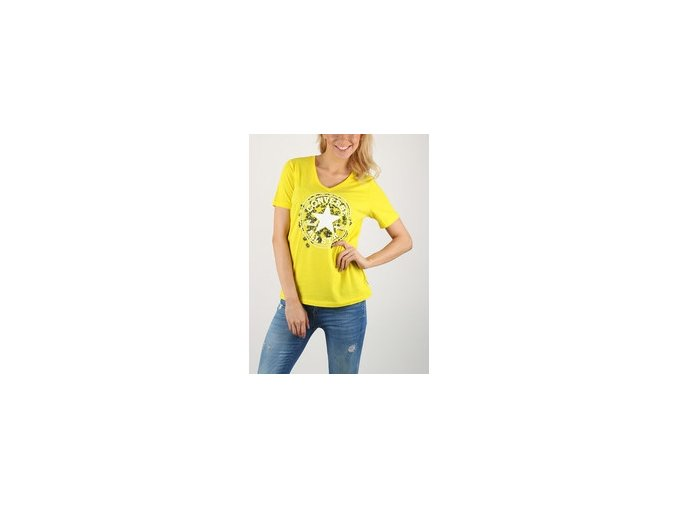 Dámské tričko Converse Daisy CP Vneck Tee Žlutá