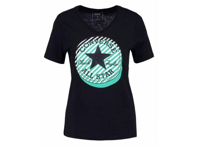 Dámské tričko Converse Off Center Stripe vneck tee Černá
