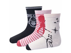 Dívčí ponožky 3 páry LEGO® Wear ALEXA 704 Růžová / Černá